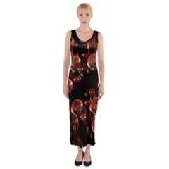 Fractal Chocolate Balls On Black Background Fitted Maxi Dress