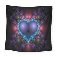 Blue Heart Fractal Image With Help From A Script Square Tapestry (large) by Simbadda