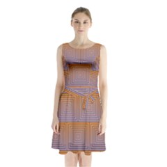 Brick Wall Squared Concentric Squares Sleeveless Chiffon Waist Tie Dress