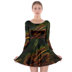 Abstract Glowing Edges Long Sleeve Skater Dress