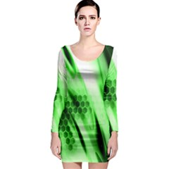 Abstract Background Green Long Sleeve Bodycon Dress