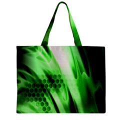 Abstract Background Green Zipper Mini Tote Bag