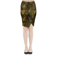 Textured Camo Midi Wrap Pencil Skirt