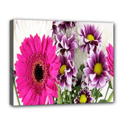 Purple White Flower Bouquet Canvas 14  X 11  by Simbadda
