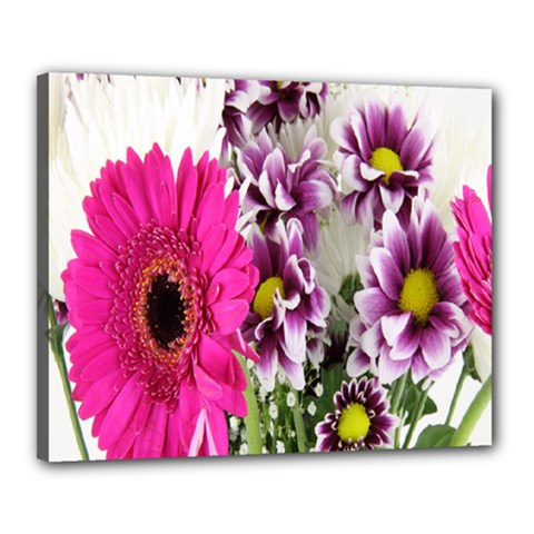 Purple White Flower Bouquet Canvas 20  X 16  by Simbadda