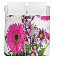 Purple White Flower Bouquet Duvet Cover Double Side (queen Size)