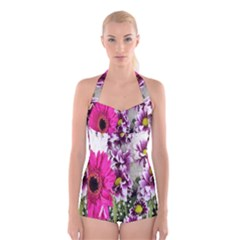 Purple White Flower Bouquet Boyleg Halter Swimsuit  by Simbadda