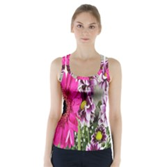 Purple White Flower Bouquet Racer Back Sports Top by Simbadda
