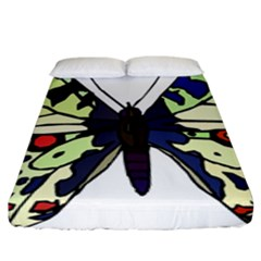 A Colorful Butterfly Image Fitted Sheet (king Size) by Simbadda