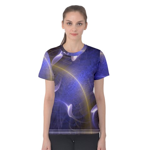 Fractal Magic Flames In 3d Glass Frame Women s Cotton Tee by Simbadda