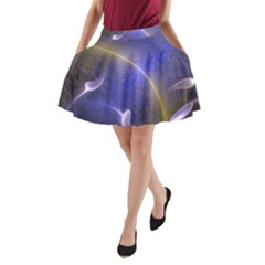 Fractal Magic Flames In 3d Glass Frame A Line Pocket Skirt by Simbadda