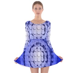 Abstract Background Blue Created With Layers Long Sleeve Velvet Skater Dress by Simbadda