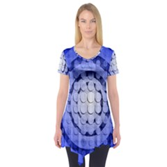 Abstract Background Blue Created With Layers Short Sleeve Tunic