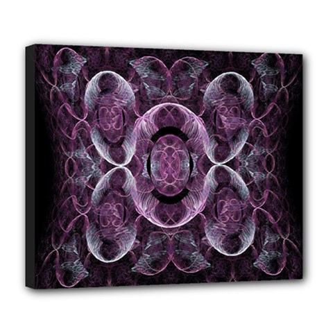 Fractal In Lovely Swirls Of Purple And Blue Deluxe Canvas 24  X 20   by Simbadda