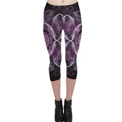 Fractal In Lovely Swirls Of Purple And Blue Capri Leggings  by Simbadda