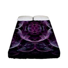 Fractal In Lovely Swirls Of Purple And Blue Fitted Sheet (full/ Double Size) by Simbadda