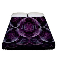 Fractal In Lovely Swirls Of Purple And Blue Fitted Sheet (queen Size) by Simbadda