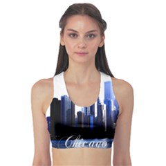 Abstract Of Downtown Chicago Effects Sports Bra by Simbadda