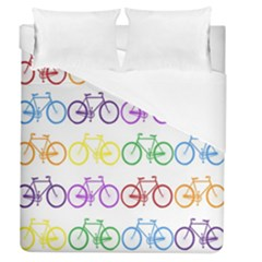 Rainbow Colors Bright Colorful Bicycles Wallpaper Background Duvet Cover (queen Size) by Simbadda