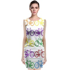 Rainbow Colors Bright Colorful Bicycles Wallpaper Background Sleeveless Velvet Midi Dress