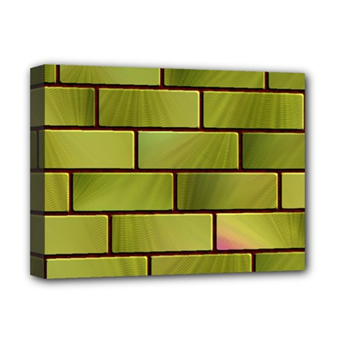 Modern Green Bricks Background Image Deluxe Canvas 16  X 12   by Simbadda