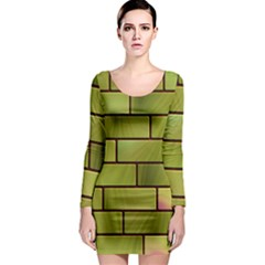 Modern Green Bricks Background Image Long Sleeve Bodycon Dress