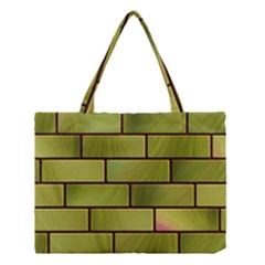 Modern Green Bricks Background Image Medium Tote Bag by Simbadda