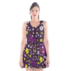 Flowers Floral Background Colorful Vintage Retro Busy Wallpaper Scoop Neck Skater Dress