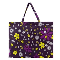 Flowers Floral Background Colorful Vintage Retro Busy Wallpaper Zipper Large Tote Bag
