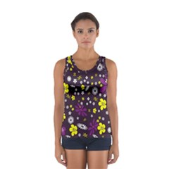 Flowers Floral Background Colorful Vintage Retro Busy Wallpaper Women s Sport Tank Top