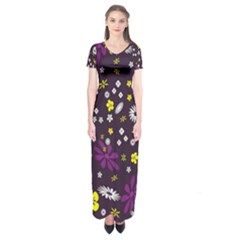 Flowers Floral Background Colorful Vintage Retro Busy Wallpaper Short Sleeve Maxi Dress