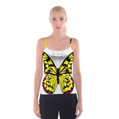 Yellow A Colorful Butterfly Image Spaghetti Strap Top