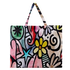 Digitally Painted Abstract Doodle Texture Zipper Large Tote Bag