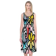 Digitally Painted Abstract Doodle Texture Midi Sleeveless Dress
