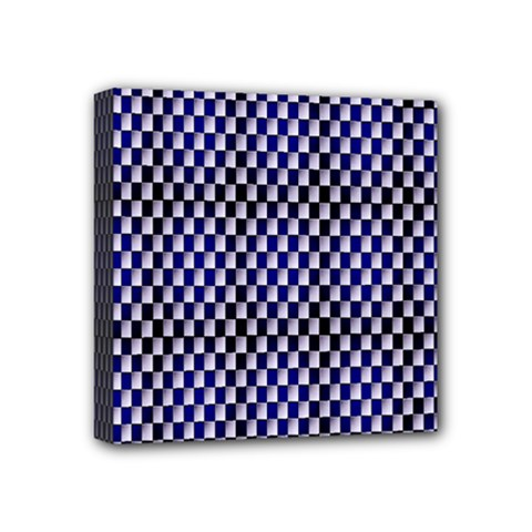 Squares Blue Background Mini Canvas 4  X 4