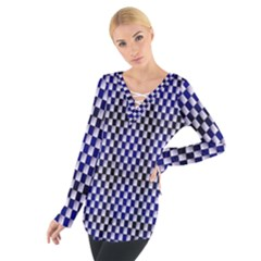 Squares Blue Background Women s Tie Up Tee by Simbadda