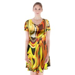 Colourful Abstract Background Design Short Sleeve V Neck Flare Dress by Simbadda
