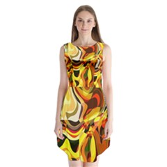 Colourful Abstract Background Design Sleeveless Chiffon Dress