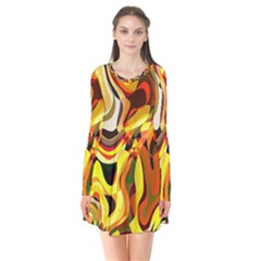 Colourful Abstract Background Design Flare Dress by Simbadda
