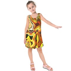 Colourful Abstract Background Design Kids  Sleeveless Dress by Simbadda