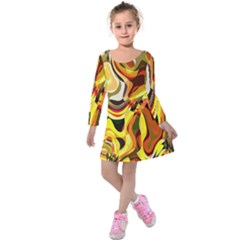Colourful Abstract Background Design Kids  Long Sleeve Velvet Dress by Simbadda