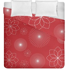 Floral Spirals Wallpaper Background Red Pattern Duvet Cover Double Side (king Size) by Simbadda