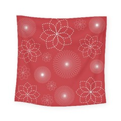 Floral Spirals Wallpaper Background Red Pattern Square Tapestry (small) by Simbadda