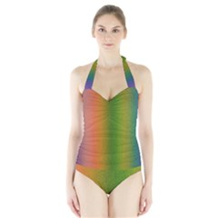 Colorful Stipple Effect Wallpaper Background Halter Swimsuit by Simbadda