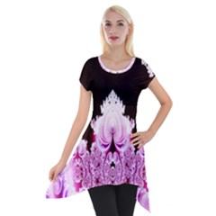 Fractal In Pink Lovely Short Sleeve Side Drop Tunic by Simbadda