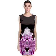 Fractal In Pink Lovely Sleeveless Velvet Midi Dress by Simbadda