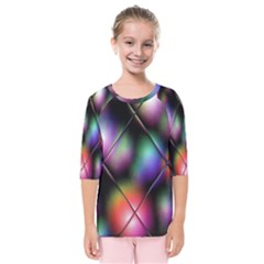 Soft Balls In Color Behind Glass Tile Kids  Quarter Sleeve Raglan Tee