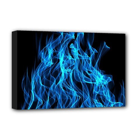 Digitally Created Blue Flames Of Fire Deluxe Canvas 18  X 12   by Simbadda