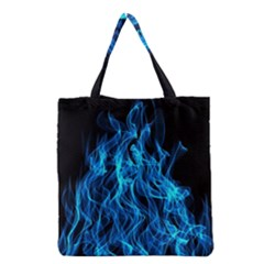Digitally Created Blue Flames Of Fire Grocery Tote Bag