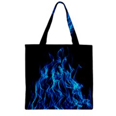 Digitally Created Blue Flames Of Fire Zipper Grocery Tote Bag by Simbadda